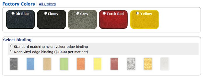 Floor Mat Color Selector