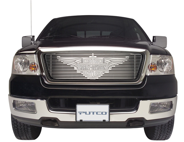 Putco Harley Davidson Brushed Liquid Billet Grille with Wings Logo