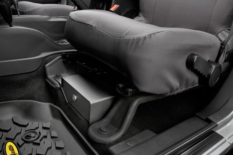 Bestop jeep storage bestop under seat locking storage box for Interior jeep accessories