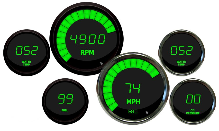 Intellitronix LED Digital Gauges on green jeep wrangler
