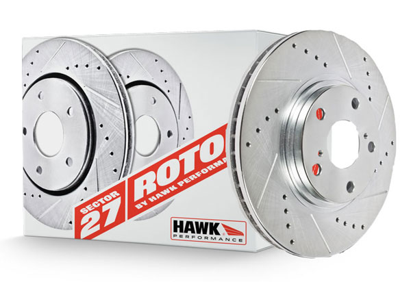 Hawk Sector 27 Drilled and Slotted Rotors