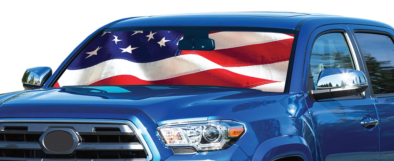 Intro Tech American Flag Car Windshield Sun Shade Free