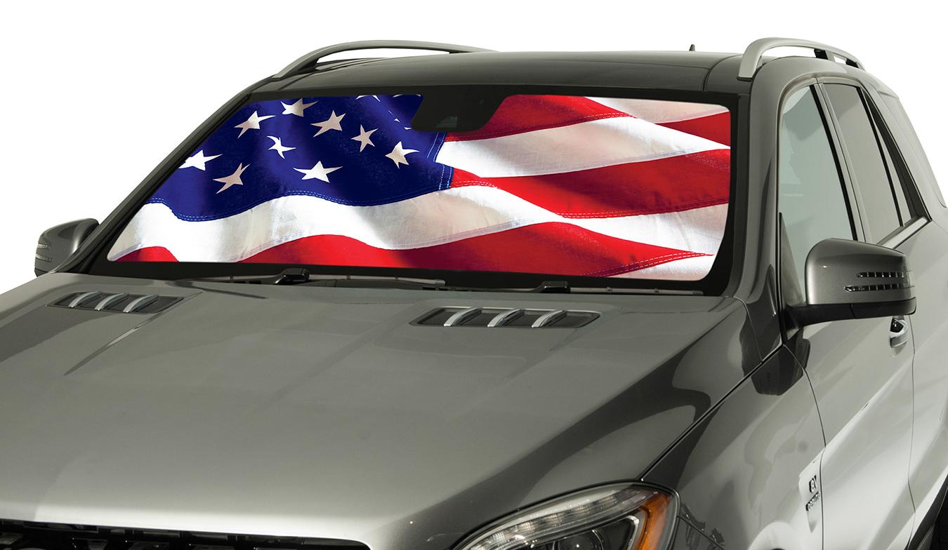 Intro Tech American Flag Car Windshield Sun Shade Free
