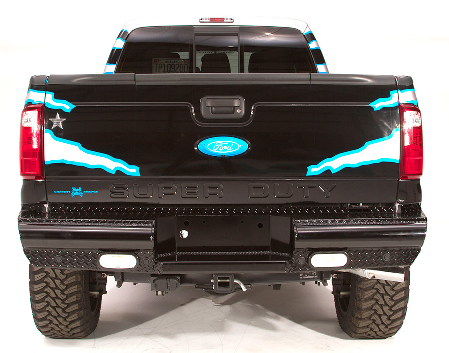 1999 2016 ford f250 fab fours black steel rear bumper for Garage six fours centre auto