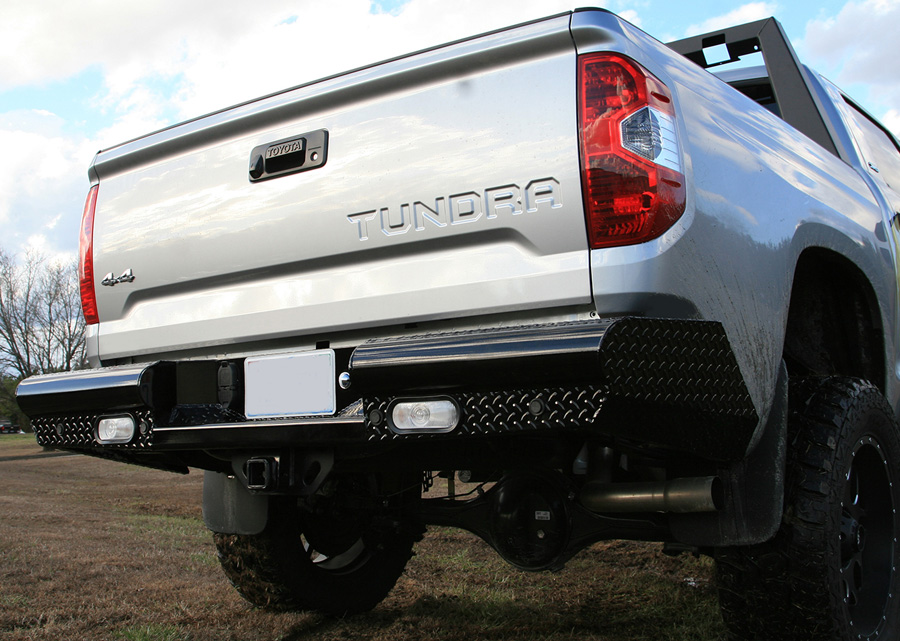 2014 2018 toyota tundra fab fours black steel rear bumper for Garage six fours centre auto