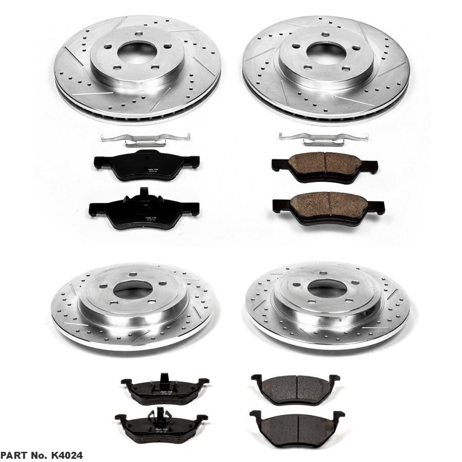 Power Stop K4039 Front /& Rear Brake Kit with Drilled//Slotted Brake Rotors and Z23 Evolution Ceramic Brake Pads